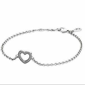 Pandora silver bracelet with ❤️